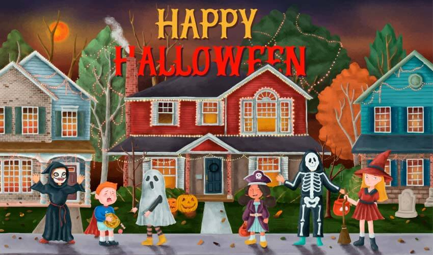 Cartoon of kids in costumes trick or treating for Halloween candy that can cause cavities