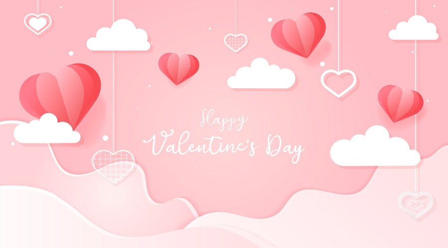 Happy Valentine's Day banner with a pink sky, red heart balloons, and clouds